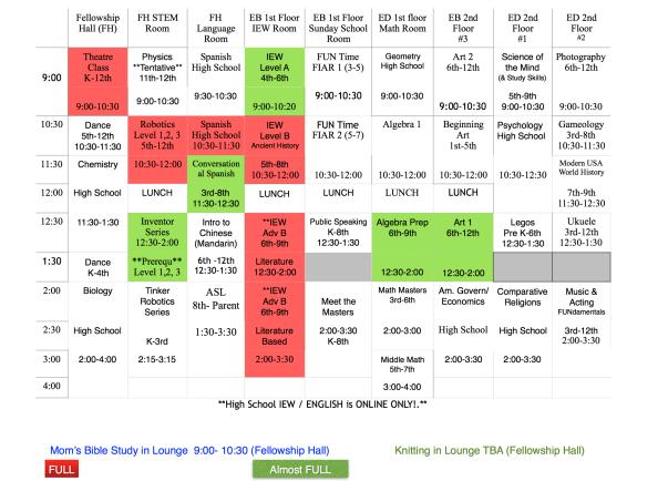 summer 2018-2019 schedule
